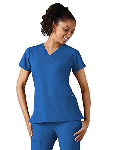 Classic Fit Collection By Jockey Women's 6 Pocket Solid Scrub Top Large Royal Blue (Tag Royal Cord)