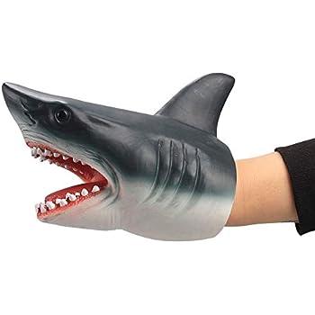 Geminismart Shark Hand Puppet Dolphin Hand Puppet for Kids Soft Rubber Realistic White Shark Role Play Toy (Shark)