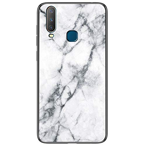Vivo Y17 Case, CHIHENG [Marble Pattern] Tempered Glass Back Cover + Shockproof Soft TPU Bumper Hybrid Protection Case for Vivo Y17 White