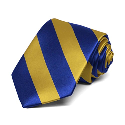 TieMart Boys' Royal Blue and Gold Striped - Striped Multi Tie