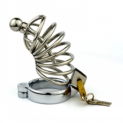STAiviv Stainless Steel Bondage Male Chastity Cage with Urethral Plug Sounds,Penis Cage Chastity Device Adult Sex Toy for Men,Cock Cag