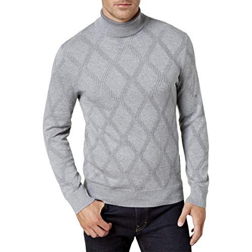 - Tasso Elba Mens Pattern Ribbed Trim Turtleneck Sweater Gray L