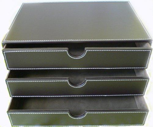 Ablagefacher In Leder Optik Braun Amazon De Burobedarf Schreibwaren