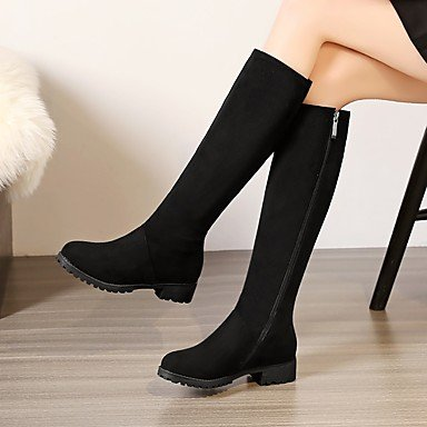 Black Boots High Shoes Knee UK8 Boots US10 Brown Women'S For Toe Round Leatherette RTRY Fall EU42 Dress 5 CN43 Winter Buckle 5 Boots Casual Slouch U0qwPx