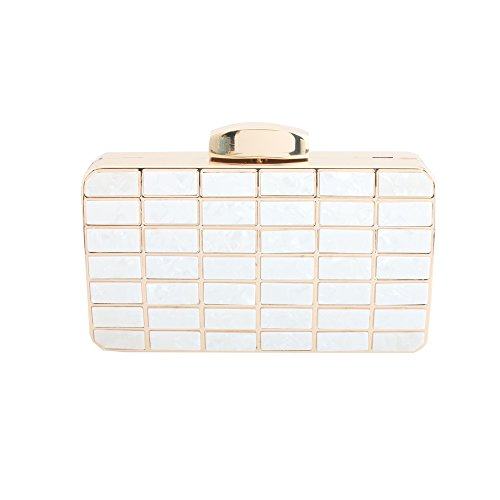 Designed for Metal Elegant of with and Women Acrylic Bags White Women wY0T6pqq