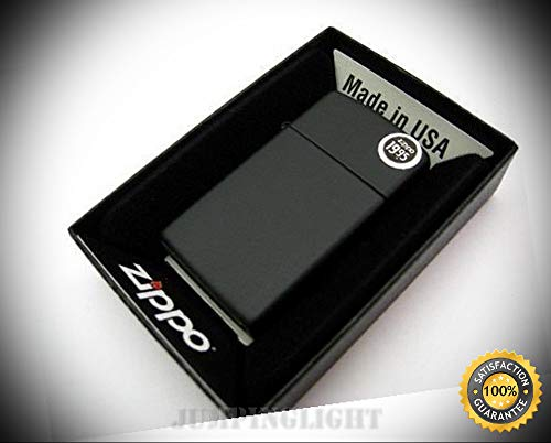 Slim Size Black Matte Windproof Lighter Model 1618 - Premium Lighter Fluid (Comes Unfilled) - Made in USA! ()