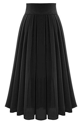 Les Yacun Jupe Black Longue Plage Plisse Haute Dcollet Jupes Femmes Taille qwHC1