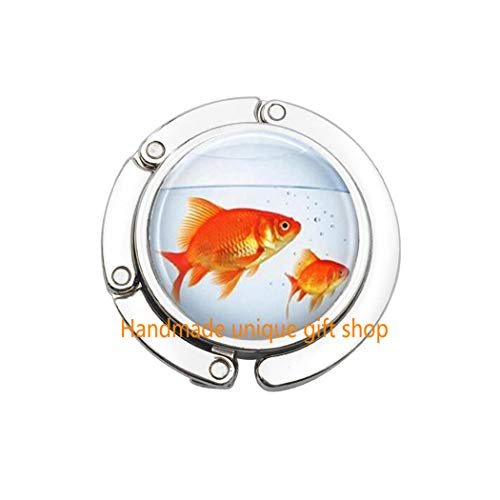 Beautiful Purse Hook,Gift Purse Hook,Fish Purse Hook, Goldfish Bowl, Fish Jewelry, Fish Tank, Aquarium, Fish Bowl Art Bag Hook in Bronze or Silver with Link Included.TD060 (A) ()