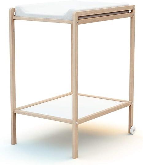 Ateliers T4 Table /à Langer /à Roulettes avec 2 /Étag/ères Vernis Naturel