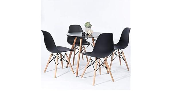 Genérico Juego de Madera B Estilo y sillas de Madera Negro d Bla Mesa Redonda Mesa de Comedor Mesa de Oficina Mesa de café: Amazon.es: Electrónica