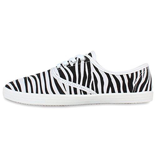 Glatt Sneakers Schuhe Damen Flandell Halbschuhe Casual Stiefelparadies Freizeit Style Brogues Zebra vqS4Xxf