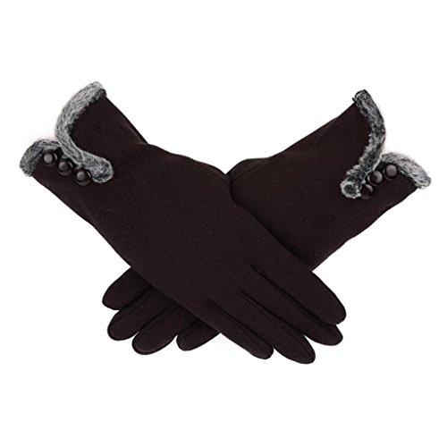 Hometom Women Cashmere Keep Warm Driving Full Finger Gloves Touch Screen Glove (Filet Coffee)