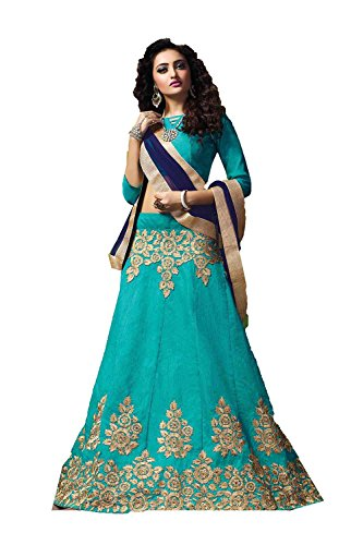 IWS Womens Silk Fabric Turquoise Pretty Circular Lehenga Style 84061
