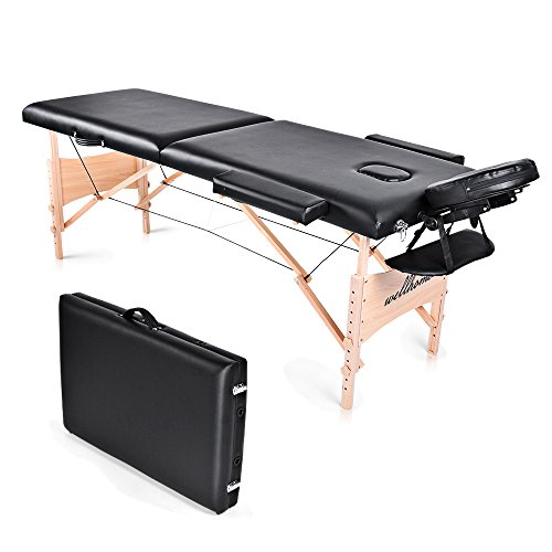 Massage Table-WELLHOME Wood Treatment Table 2 Section Professional Home Portable Folding Facial SPA Tattoo Bed Black, Load up to 660 lbs,82''×23'',with Adjustable Face Cradle Carrying Bag by WELLHOME