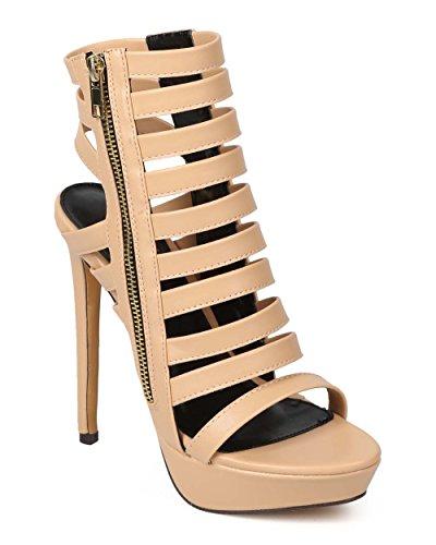 Miss L ek93レディース合成皮革オープントウCaged Single Sole Stiletto Sandal – ヌード
