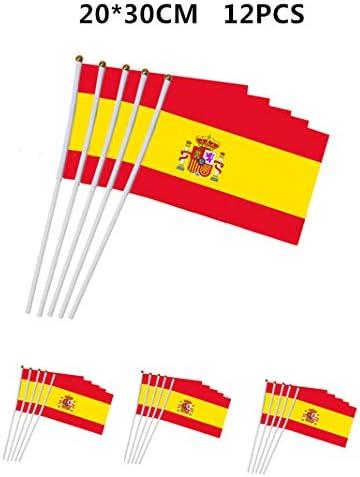 Disfraces Alegria Pack 12 Bandera de Mano banderín España, 20x30cm: Amazon.es: Deportes y aire libre