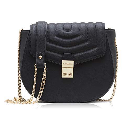 (LaBante London - Cross Body Bag - Courtney - Black Handbag for Women | Small Over Shoulder Bags For Women PU Vegan Leather)