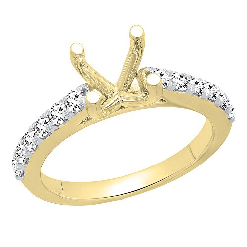 Dazzlingrock Collection 0.50 Carat (ctw) 14K Round Diamond Semi Mount Bridal Engagement Ring 1/2 CT, Yellow Gold, Size 6