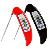 Digital Meat BBQ Thermometer 2 Pack UPGRADE Magnetic Instant Read Thermometer Cooking Thermometer for Kitchen Grilling Food Milk Candy and Bath Water, Food Grade Stainless Steel Probe Red Black