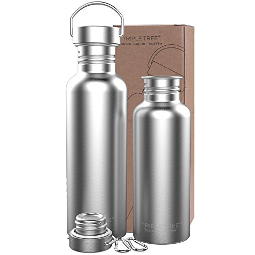 Triple Tree Sports Water Bottle 304 18/8 Stainless Steel Uninsulated Single Walled Construction For Cyclists, Runners, Hikers, Beach Goers, Picnics, Camping - BPA Free. (17 ounces) (Runner Stainless)