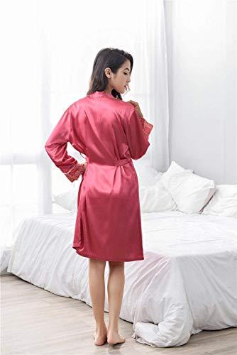 Larga En V Flojo Con Nightwear Mujeres Vestido Negligee De Mujer Manga Cuello Elegante Clásico Pijama Rot Cómodo Camisón Moda Rx4Xwg4qz
