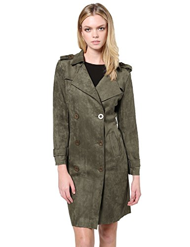 Suede Double Breasted Trench Coat Jacket with Pockets Olive M ()