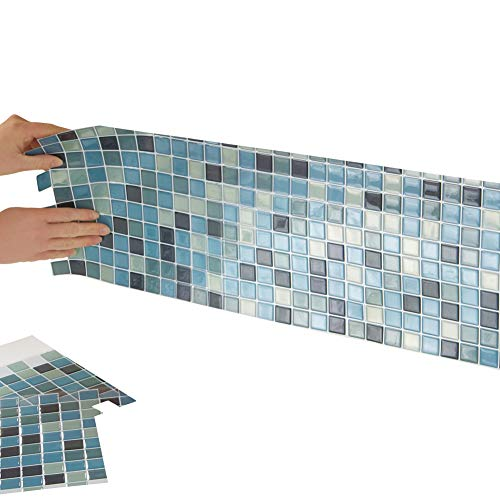 Multi-Colored Adhesive Mosaic Backsplash Tiles for Kitchen and Bathroom - Set of 6, Blue Multi