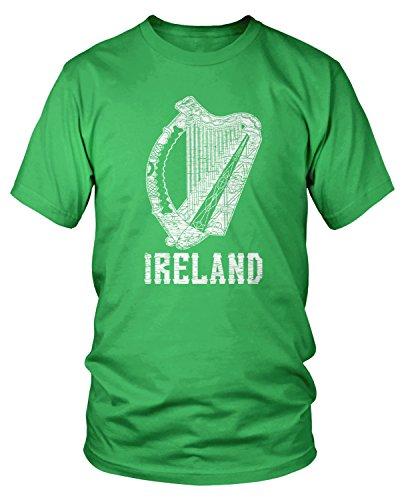 Amdesco Men's Ireland Harp, Eire Irish Coat of Arms T-Shirt, Kelly Green -