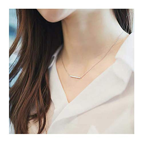 Or Is Cat Necklace - Simple Circle with Bar Y Necklace,Dainty Minimalist Circle Bar Lariat Necklace for Women Girls (Silver Bar)
