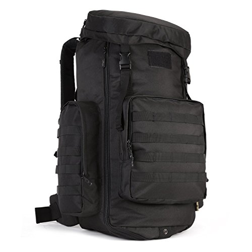 ArcEnCiel 70-85L Adjustable Capacity Outdoor Sports Bag Military Tactical Large Waterproof Molle Backpack Hiking Camping Trekking Gym Bags -Rain Cover Included by ArcEnCiel