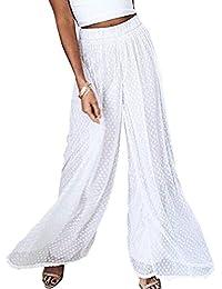 Women's Causal Wide Leg Pants-Elastic Waist Flowy Layered Dot Palazzo Pants
