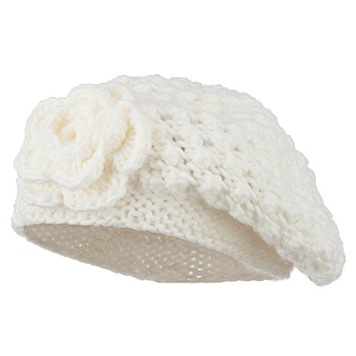 Women's Flower Accent Beret - Cream OSFM