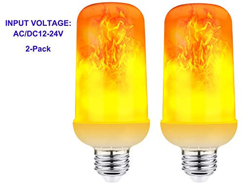 2-Pack AC/DC12V-24Volts LED Flame Bulb Low Voltage Fire Flicker Lights with Upside Down Effect Indoor Outdoor Lighting 6W E26 Flaming Flicker Lights for Halloween/Christmas/Bar/Party/Hotel Decoration