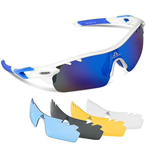 HODGSON Sports Polarized Sunglasses for Men or Women, UV400 Protection Sports Glasses with 5 Interchangeable Lenses for Baseball Running, Driving, Cycling, Golf and Other Outdoor Activities-White/Blue