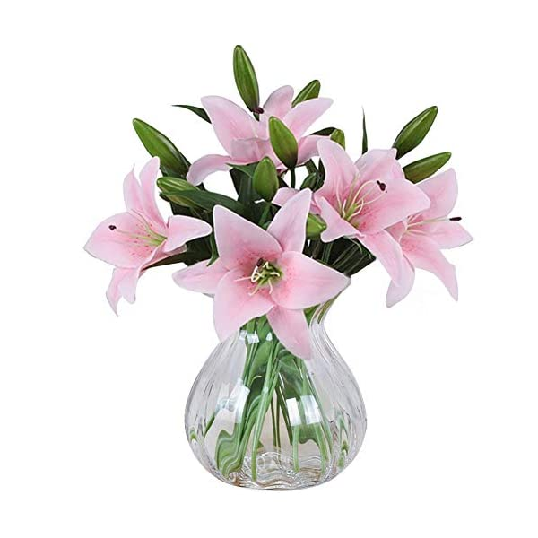 Meiwo-Artificial-Flowers-5pcs-Artificial-Lillies-with-3-Buds-Full-Bloom-Artificial-Latex-Real-Touch-Flowers-for-Home-Decor-Wedding-Parties-Offices-Restaurants