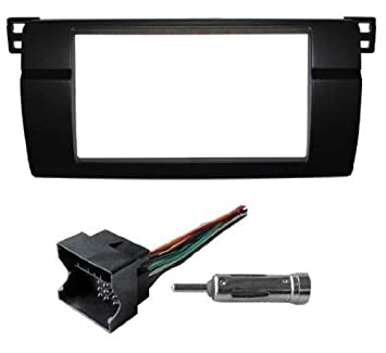 Double Din Radio Stereo Dash Install Kit Bezel w/ Wiring harness Fits on double din bracket, double din cover, double din radio, double din trim ring, double din dash panel,