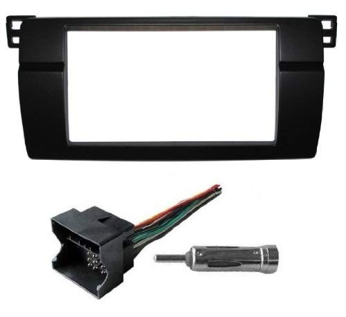 Double Din Radio Stereo Dash Install Kit Bezel w/ Wiring harness Fits BMW E46 Select 3 Series