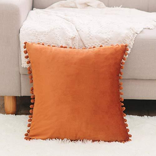 - NATUS WEAVER Soft Velvet Fringe Throw Pillow Cover Cushion Case for Child Couch Sofa Home Decor 12 x 12 Inch 30 x 30 cm