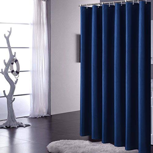 YUUNITY Polyester Fabric Basic Shower Curtain with Hooks Waterproof Washable (Dark Blue 72x72)