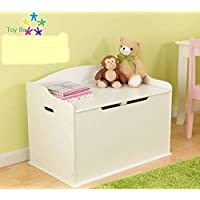 Toy Box, Functional, Vanilla, Safety Hinge on Lid Protects Young Fingers from Getting Pinched, Made of Wood, Doubles as a Bench for Additional Seating, Easy to Put Together, BONUS FREE E-book
