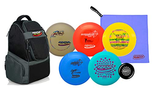 Innova Disc Golf Set with 5 World Champion Discs and Adventure Disc Golf Backpack - Drivers, Mid-Range, Putter, Towel and Mini Marker Disc - Upgrade Your Game