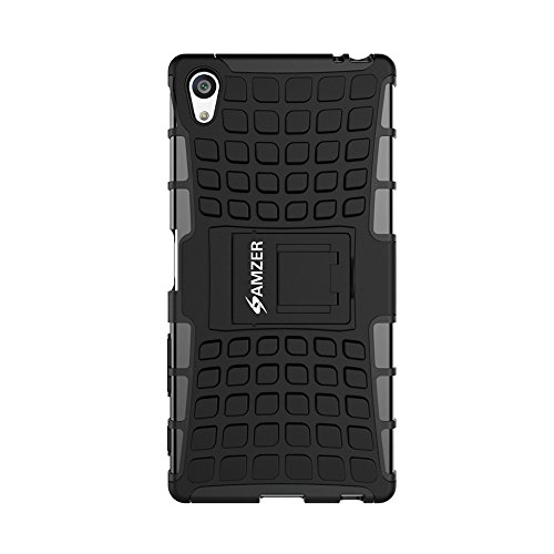 AMZER Hybrid Warrior Case with Kickstand for Sony Xperia Z5 Premium - Retail Packaging - Black