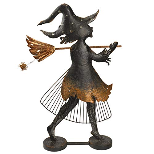 Design Toscano FU82955 Bewitched Blaise Metal Silhouette Witch Statue, Two Tone Black/Gold ()