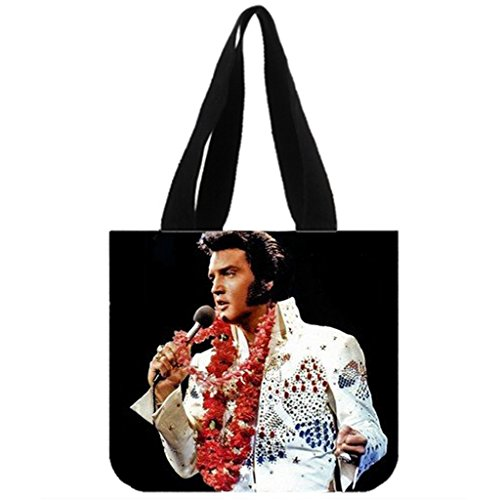 Emana custom womens Elvis Presley Tote Bag Canvas Shopping bag shoulder handbags Canvas Tote Bag Shoulder Bag (Two Sides) Size: 12.2
