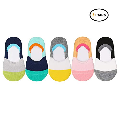 VWU Toddler Socks No Show Kids Baby Low Cut Cotton Socks Anti Slip 1-3/3-5Y (Color Block, 1-3 years -