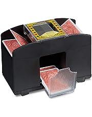 Relaxdays 10020521 Kaartenschudmachine Elektrische schudmachine als kaartschudapparaat op batterijen voor het met één druk op de knop schudden van kaarten in poker, rummy en skat, zwart