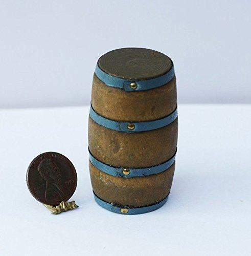 Dollhouse Miniature Vintage Look Aged Wood Barrel with Metal Strap (Vintage Wood Doll)