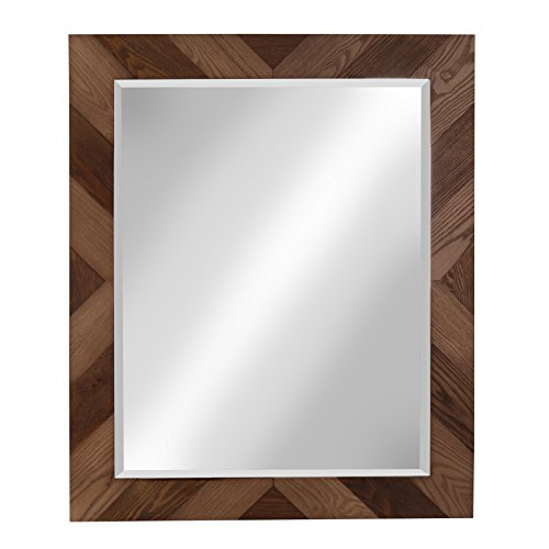 DesignOvation Rost Pieced Wood Framed Wall Accent Mirror, 27.5x33.5, Brown (Framed Wood Couch)