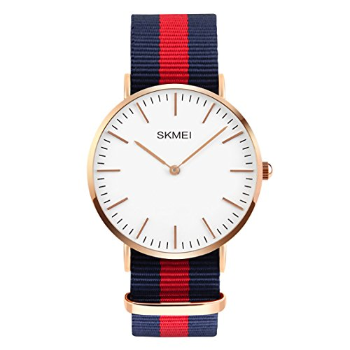 Men's Stainless Steel Classic Quartz Analog Business Wrist Watch with Thin Dial, Replaceable Multi-Color Striped Nylon Band