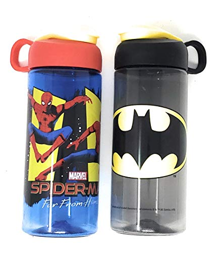 Zak Fun Youth Water Bottles, 16.5 Ounce Plastic Bottle with Carrying Loop Built Into Lid (Batman & Spiderman) -